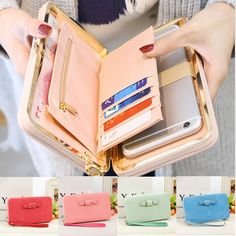 Women Candy Color Bowkot 5.5 Inch Phone Wallets Case Hasp Long Purse  Clutches For Iphone Samsung dd2d5cc086ea8