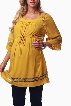 Mustard-Crochet-Accent-Maternity-Tunic