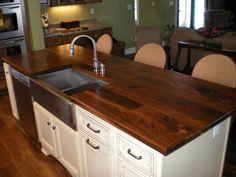 kitchen island with butcher block top | Walnut Island Top - Face Grain Construction