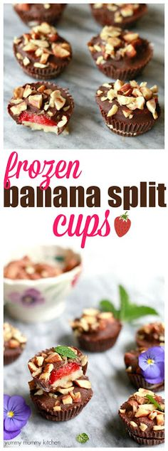 These chocolate covered frozen banana split bites make a delicious healthier treat. These are vegan and gluten-free. You're going to love these easy frozen banana bites!