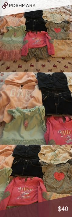 Baby gap juicy couture baby girls clothes lot All worn a couple times and dry cleaned. Great condition. Size 6-12 months. Clothes from Gap, Nordstrom and Juicy couture. The two jeans skirts alone were $25 each and only worn once at home and dry cleaned. Get a great deal! Clearing my closet because I'm moving! Please help me clear my closet out! Bundle and save a lot! baby gap juicy couture  Shirts & Tops Sweatshirts & Hoodies