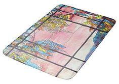 "Aomsnet Art Nouveau Wisteria Stained Glass Floral Bathroom Decor Mat, Shower Rug Mat Water Absorbent Fast Drying Kitchen, Bedroom, Hotel, Spa Tub.30 L X 18"" W Inches with Non Slip Backing Bath Mat."