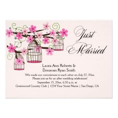 Cherry Blossoms Bird Cages Reception Only Custom Invites