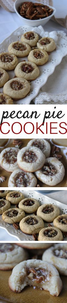 If you love cookies and pecan pie, you will adore this cookie - it's basically both rolled into one! The cookie part is tender, buttery and a perfect vessel for the gooey pecan filling.