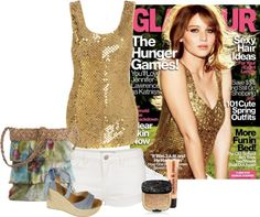 """Glamour as gold as Jennifer Lawrence"" by ila-yaseen on Polyvore"
