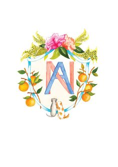 Watercolour Hand Painted Custom Wedding Crest Heraldry for Invitations, Stationary, Print by LemontreeCalligraphy on Etsy Wedding Logos, Wedding Stationary, Save The Date Designs, Monogram Design, Portrait Illustration, Tampons, Floral Watercolor, Design Elements, Artsy