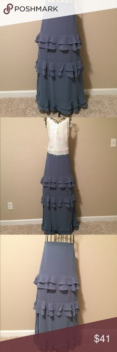 Just In 🌟 LC Lauren Conrad Tiered Maxi This steel greenish-blue tiered ruffle maxi by LC Lauren Conrad is the perfect fall color. Pair it with your favorite dressy tops or go casual with a comfy sweater. No matter what you will look fabulous! NWT, Smoke Free Home See my closet for white paillot tank pictured... bundle and save! LC Lauren Conrad Skirts Maxi