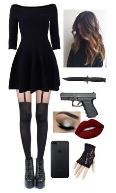 """Good Girl? Ha, no!"" by kittykatkenna ❤ liked on Polyvore featuring Pretty Polly, Jonathan Simkhai, Lime Crime and Black"
