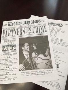 ein Schlagzeile wie aus der Kriminalchronik, aber mit positiven Bedeutung in einer Hochzeitszeitung