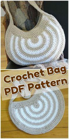 Crochet Striped Cotton Slouch Bag pattern by Rhinestone Mumma Love – Tatto Crochet Shell Stitch, Basic Crochet Stitches, Crochet Basics, Diy Bags Patterns, Crochet Purse Patterns, Crochet Simple, Crochet For Kids, Crochet Handbags, Crochet Purses
