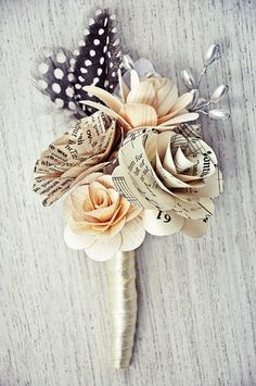 Paper Roses and Wooden Flowers Boutonniere   AccentsandPetals - Wedding on ArtFire