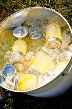 Lemonade Mason Jar Wedding Ceremony Refreshments -- this is kind of awesome...