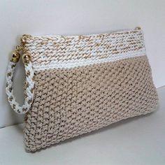 Elegant beige Handbag - Crocheted Clutch -Handmade gift-Clutch for prom by