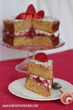 An Aussie With Crohns: Strawberry Cream Sponge Cake (Paleo & SCD)