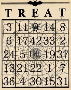 treat halloween bingo card from artistic hen 31 free halloween printables on frugal coupon living halloween freebies for kids adults and the home - Free Printable Halloween Bingo Game Cards