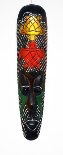 NATIVE AFRICAN STYLE PAINTED TURTLES WOODEN HAND CARVED MASK ART CARVING M407