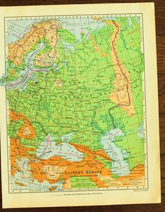 Image of Vintage Eastern Europe Map