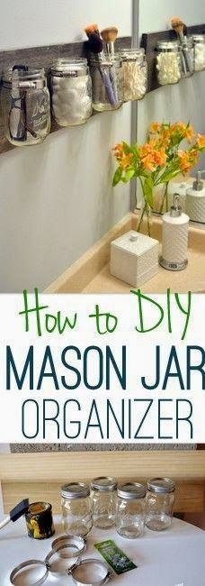 Best DIY Projects: Get your bathroom essentials organized in time for spring with this easy DIY mason jar organizer.