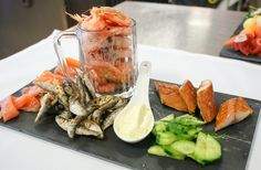 Starter: Smoked Salmon, Smoked Mackeral, Baby Crevettes and Deep fried Whitebait with Saffron Aioli, Cucumber and Mixed Cress
