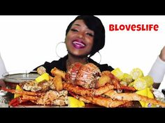 Seafood Boil 12 ⚠ Messy Eating, Smacking, King Crab Legs, Lobster, Jumbo Fried Shrimp - YouTube