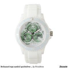 Biohazard sign symbol quicksilver glow white watch