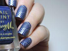 Marine Loves Polish: Striped denim, stamping nail art using Konad plate,  blue & silver
