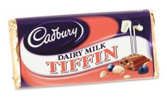 Cadbury Tiffin - Bits of fruit and biscuit covered in cabury's milk chocolate make up the Cadbury Tiffin Bar... an old favorite. http://www.englishteastore.com/cadbury-tiffin-54g.html