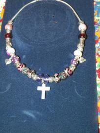 Purple & Silver Beaded Necklace w/cross pendant - $25 + s/h