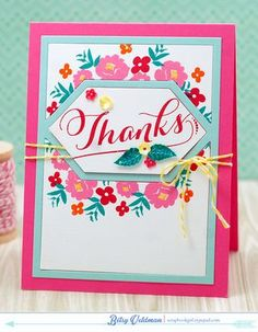 Thanks Card by Betsy Veldman for Papertrey Ink (April 2015)