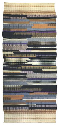 Bauhaus Weimar 1923 Flatweave, partly reversed harness Warp: cotton Weft: wool and viscose 260 x 112 cm The illustration shows the mirror woven replica x 102 cm) carried out by Helene Boerner in at the Bauhaus Museum in Weimar Weaving Textiles, Tapestry Weaving, Bauhaus Textiles, Anni Albers, Josef Albers, Bauhaus Design, Textile Fiber Art, Woven Wall Hanging, Textile Patterns