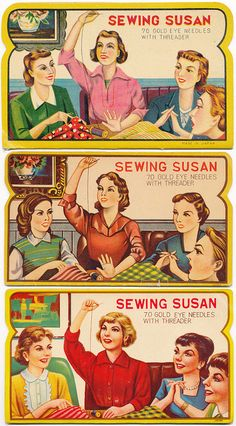 The evolution of Sewing Susan needle book illustrations by B-Kay, via Flickr
