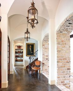 floors: stained concrete and brick