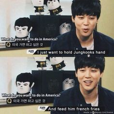 Jimin hold Jungkook's hand and feed him french fries