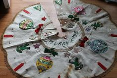 Vintage Christmas Tree Skirt ~ Beautiful White Felt Skirt with Elaborate Sequined Ornaments