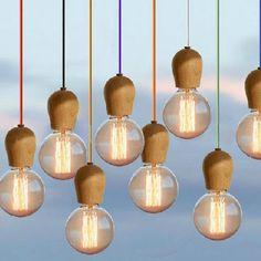 La novedad del Vintage DIY E27 Retro colgante de madera clara hechos a mano colorido cuerda de la lámpara E27 Edison bombillas socket madera portalámparas arte accesorio(China (Mainland))