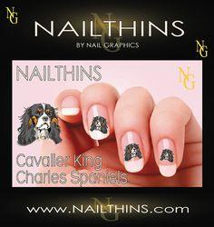 Cavalier King Charles Spaniels Dog Nail Art  Nail Decal  Nail Design NAILTHINS | @Sarah Chintomby Chintomby Chintomby Jones