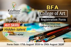 College of Art Latest Update 2020... BFA Entrance exam college of the art Registration for details #RegistrationOpen Date: 17TH August 2020 to 29th August 2020 The Admission entrance test will be held Online, Aptitude Test - General Knowledge of Fine Arts for all specializations of BFA. No practical examination (Still-Life and Composition) will be conducted in the campus for any specialization. Details regarding Qualifications, Intake Seats, Online Aptitude Test – General Knowledge and Fine… Registration Form, Record Holder, Entrance Exam, Last Date, World Records, Improve Yourself, Composition, Knowledge, Dating
