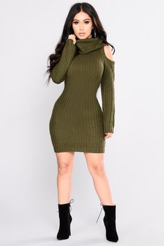 Thea Sweater Dress - Olive White Sweater Dress 88ac8ed32