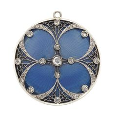 Belle Epoque Platinum, Gold, Blue Guilloche Enamel and Diamond Locket  18 kt., rose-cut diamonds, c. 1905, ap. 11 dwts.