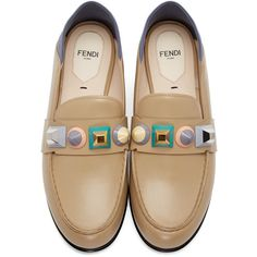 Fendi Brown Rainbow Loafers ($707) ❤ liked on Polyvore featuring shoes, loafers, multi colored shoes, leather sole shoes, brown shoes, colorful shoes and loafer shoes