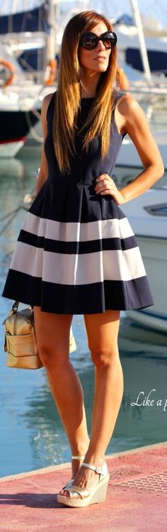 Kuka  Chic Navy And White Stripe Pleated Skirt Skater Dress by Like A Princess Like.... Kuka