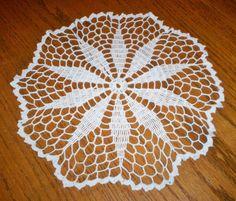 "Vintage Hand Crocheted Lace Doily 12"" Diameter Estate Item White Beautiful PEEK"