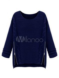 2014 Oversized Pullover Sweater With Crewneck - Milanoo.com