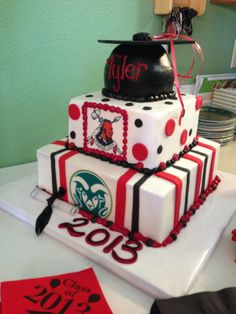 Graduation cake. High school mascot and college to be attending mascot.