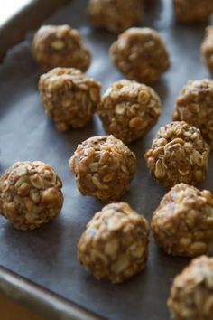 Peanut butter energy bites made with oats, rice krispys, peanut butter, honey and powdered pb2