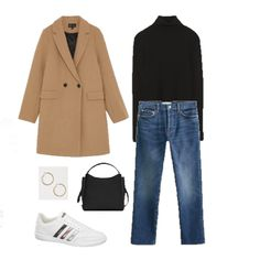 Black turtleneck sweater+straight-leg jeans+white sneakers+black handbag/ should… City Break Outfit Winter, Fall Winter Outfits, Black Turtleneck Outfit Winter, Casual Outfits 2018, Fall Capsule Wardrobe, Sweater Outfits, Streetwear, White Sneakers, Wool Coat
