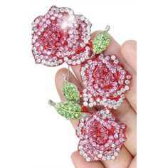 16 Braunton Red Rose Flower Brooch Pin Pink Austrian Crystal (£21) ❤ liked on Polyvore featuring jewelry, brooches, red, pink brooch, red jewelry, pink flower brooch, flower pin brooch and red rose brooch