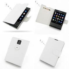 PDair BlackBerry BB Passport Leather Book Case (White)