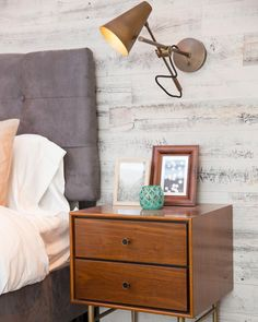 Stikwood feature wall on The Property Brothers! Stick On Wood Wall, Peel And Stick Wood, Property Brothers, Reclaimed Barn Wood, Weathered Wood, Wood Wall Decor, Grey Walls, Wood Walls, Dresser As Nightstand