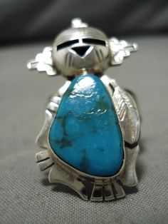Items similar to Detailed! Native American Navajo Blue Diamond Turquoise Sterling Silver Kachina Ring on Etsy Vintage Turquoise, Turquoise Stone, Turquoise Jewelry, The Ring Face, Native American Jewelry, Sterling Silver Bracelets, Indian Jewelry, Navajo, Diamond